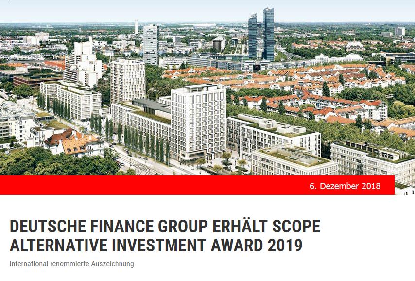 Für unsere Kunden nur vom Besten – Deutsche Finance Group erhält SCOPE ALTERNATIVE INVESTMENT AWARD 2019
